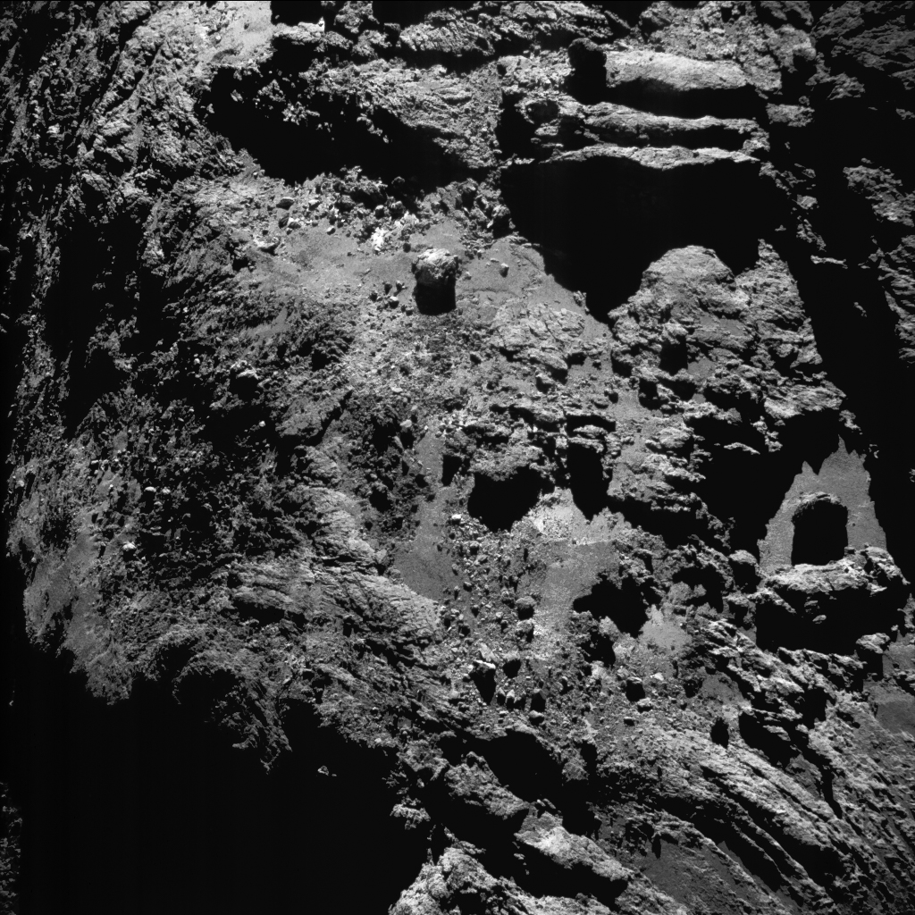 9 July 2016 when Rosetta was 11 km from the centre of the nucleus of Comet 67P Churyumov-Gerasimenko The average scale is 1 m per pixel and the image measures about 1 km across.jpg