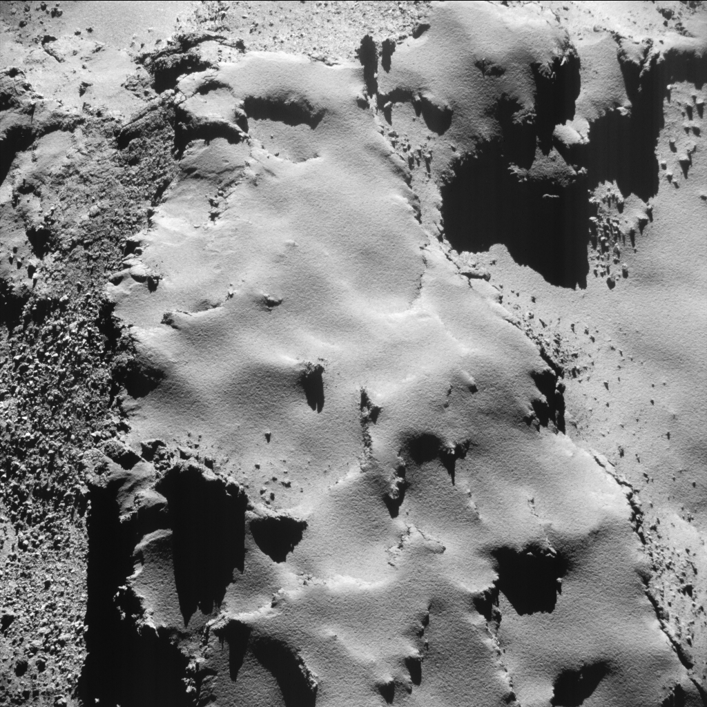 18 July 2016 9 km from the centre of the nucleus of Comet 67P Churyumov-Gerasimenko The average scale is 07 m per pixel and the image measures about 700 m across.jpg